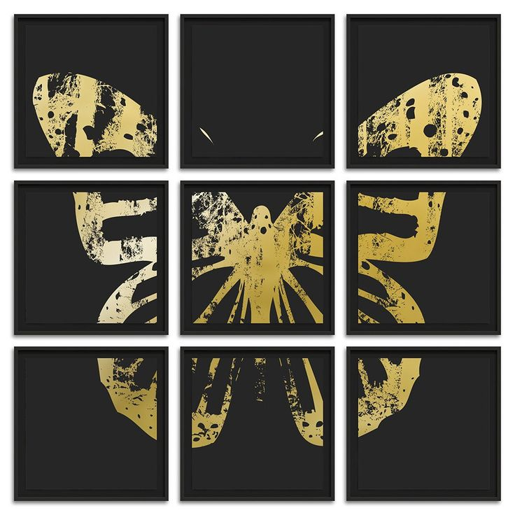 """Butterfly with Forest Wings - Grouping 2 Gold on Black - 9 Frames 26"""" H x 26"""" W each Floated and Dry Mounted - Gold Leaf Foil on Fine Art Paper  Black - Wood Ash Frame Frame #artsquaredinc #art #design #gold #goldleaf #artandnature #ButterflyForest #butterflyart"""