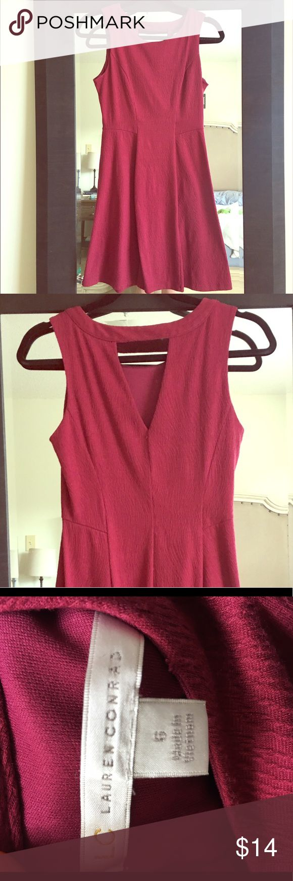 LC Lauren Conrad Garnet Dress Textured cotton garnet dress with keyhole back. Stretchy fabric. Size 6 - fits like a 4-6. LC Lauren Conrad Dresses Mini