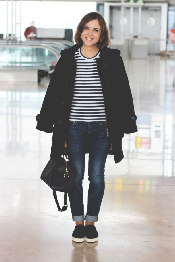 Play Comme des Garcons striped t-shirt, Rag & Bone jeans, Barbour duffle coat, The Row for Superga slip on sneakers and Sofia Coppola for Louis Vuitton bag