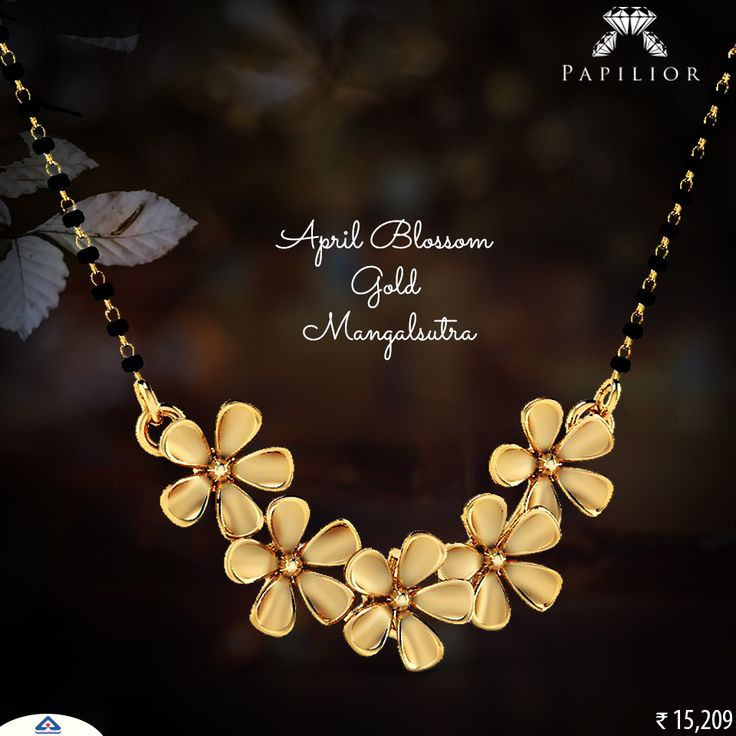 """The significance of heritage in contemporary designs with #mangalsutras at #papilior. Special #giftsformom this #akshayatriya week -"" #goldmangalsutra #flowershapedmangalsutra #onlineshopping #goldjewelry #lightweightmangalsutra #dailywearmangalsutra #modernmagalsutra #tanmaniyamangalsutra #mangalsutrapendant #fancygoldmangalsutra #22ktgoldmangalsutra #shortgoldmangalsutra"