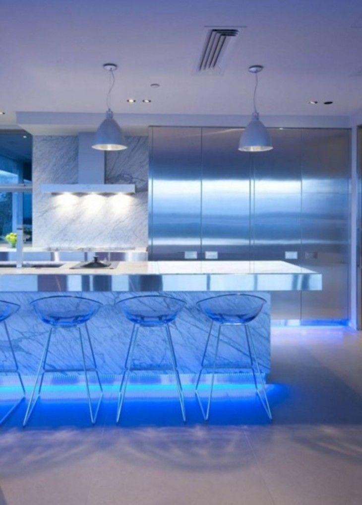 Ultra Modern Kitchen Design With Led Lighting Fixtures Design - pictures, photos, images
