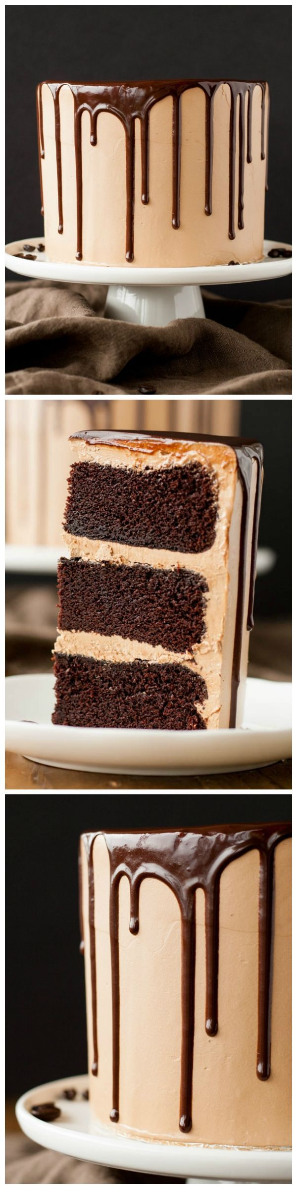 A rich dark chocolate cake, covered in a silky mocha swiss meringue buttercream, drizzled with a dreamy chocolate ganache.