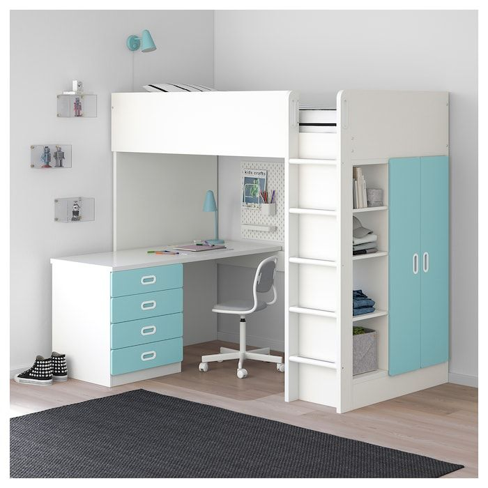 Stuva Fritids Loft Bed With 4 Drawers 2 Doors White