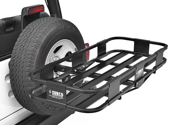 Jeep Spare Tire Mounted Cargo Basket by Surco - Best Spare Tire Cargo Baskets for Jeep Wranglers