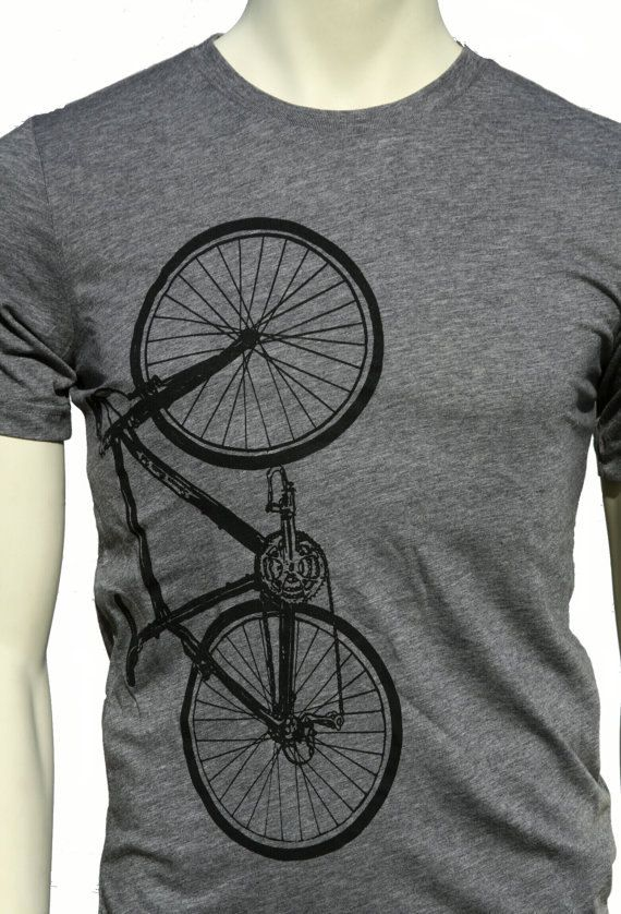 Bike Bicycle soft lightweight men's unisex soft T-shirt. Crew and V-neck on Etsy, $22.00
