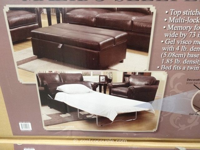Pull Out Sleeper Ottoman With Spring Mattress Durable Home Furniture