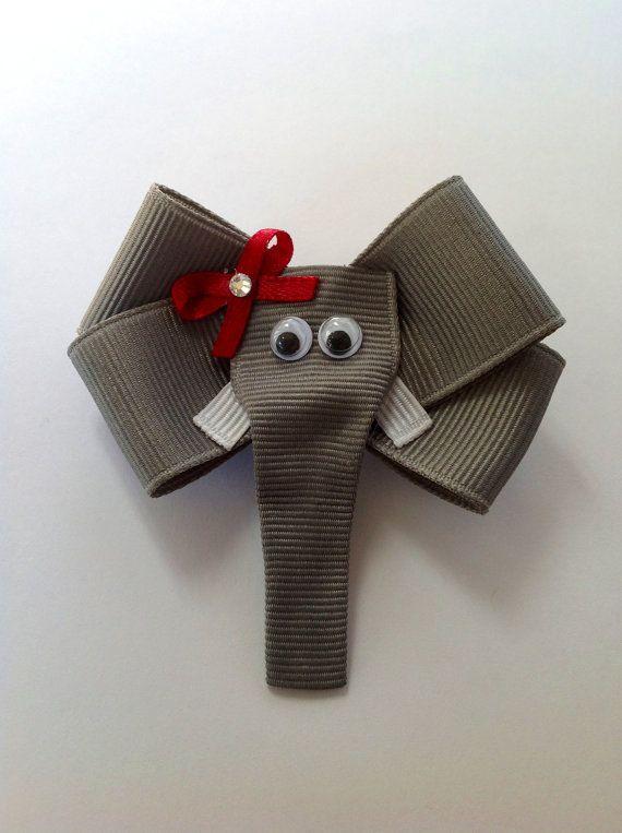 Alabama crimson Tide Elephant Ribbon Hair Clip. $6.00, via Etsy.