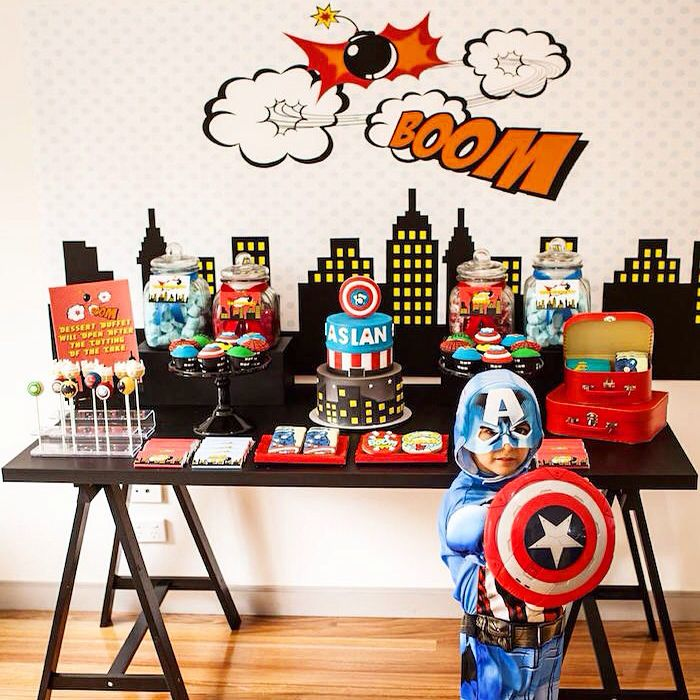 Superhero themed birthday party via Kara's Party Ideas! If you're planning a…