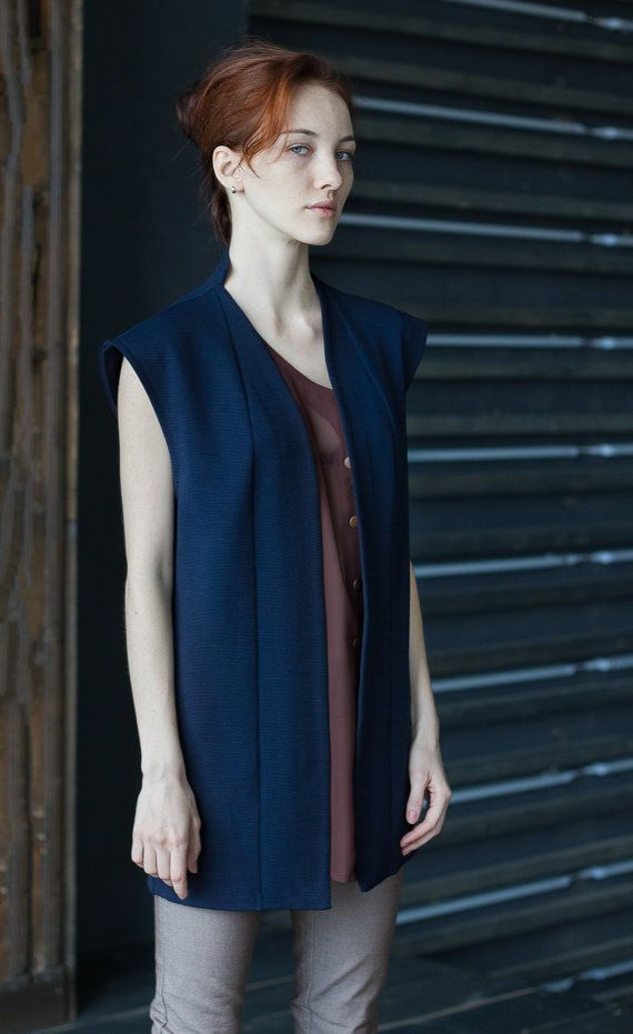 Women Sleeveless Vest / Long Cardigan / Blue by ExlibrisClothing
