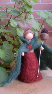 Forest Fairy soft sculpture, Waldorf inspired, Needle felted wool and natural details