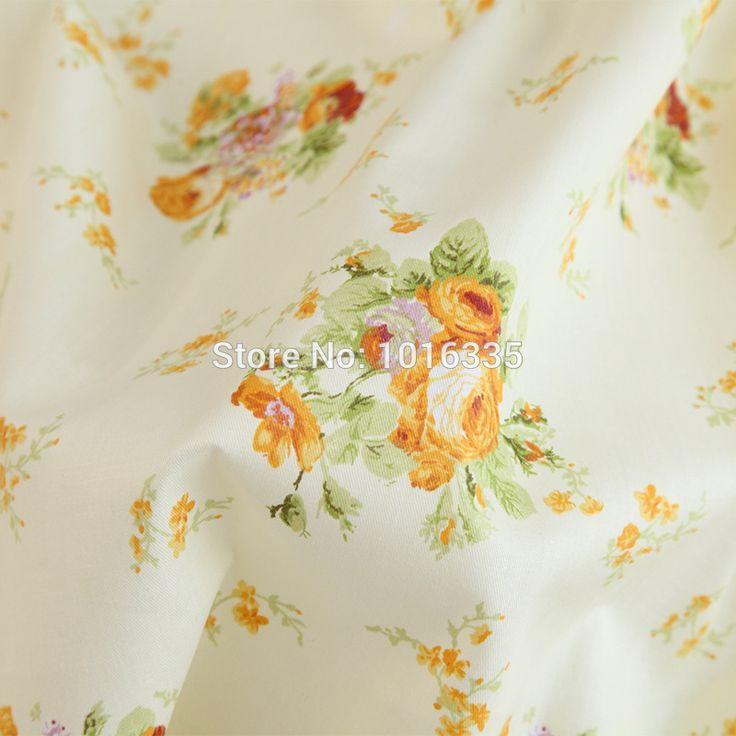 160 CM Breedte Geel bloemen gedrukt 100% katoen patchwork stof handgemaakte DIY telas por metros