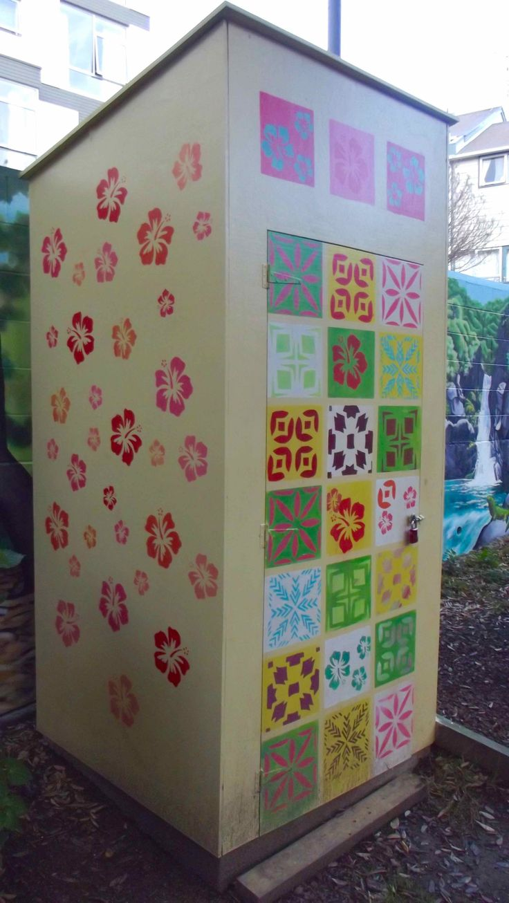 "WCC Housing, Central Park Flats ""Garden Mural"" 27 Brooklyn Road, Te Aro, Wellington.  Stenciled walls of shed."