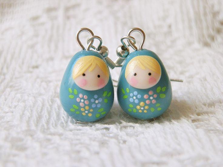 Boucles poupée russe Romantique Pastel : Boucles d'oreille par smaksall