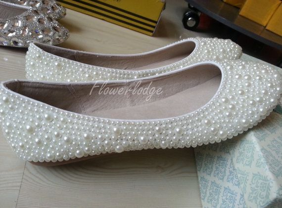 ivory Ballet Flats Shoes Custom Shoes Off White ballet flat shoes Pearl Beads…