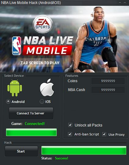 Your searched NBA LIVE MOBILE GENERATOR: working on iOS and Android. The NBA LIVE MOBILE GENERATOR can be activated from Windows and Mac computers.