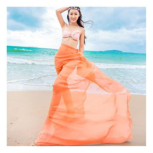 """GERINLY Sarong Wrap - Solid Color Chiffon Hawaiian Beach Cover Ups (Orange). OverSize: 59""""Wx70.8""""L (150cm*180cm). Material:Georgette - fine artificial silk chiffon, silk smooth,light and thin fabric. Sheer Material. Features: Plus Size, Lightweight, Soft, See-through Sexy Look Design, Perfect Swimsuit Cover Ups. Care Instructions: Just wash in cold water by hand with a gentle soap. Show off your sensational sense of style with the help of a solid color sarong. From a dazzling white beach…"""