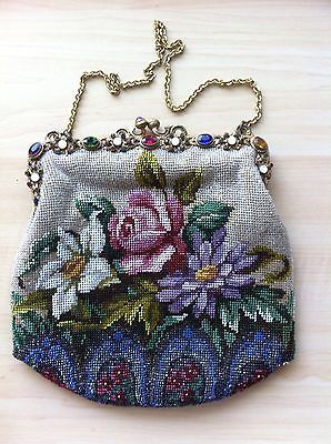 GORGEOUS Antique Vintage Micro Beaded Floral Purse With Jeweled Brass Frame