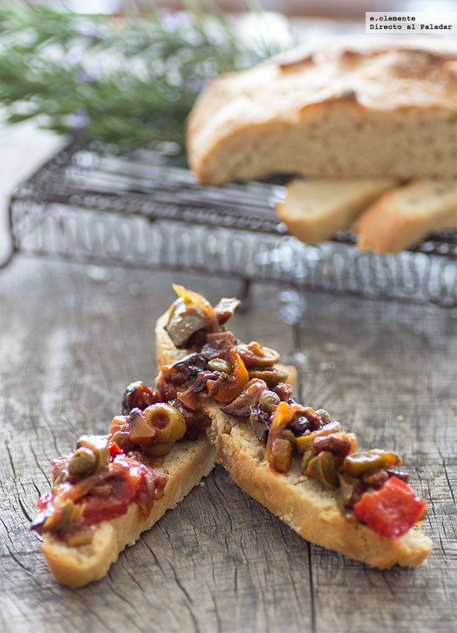 Receta tradicional de caponata siciliana. Receta con fotografías del paso a paso y sugerencias de presentación. Recetas de salsas y guarniciones