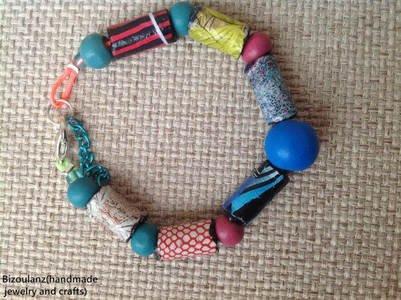 Multicolor bracelet,recycled paper and plastic, neon rope,modern blue,purple,black,pink,white,yellow,teal,red,orange,tribal,women,repurposed