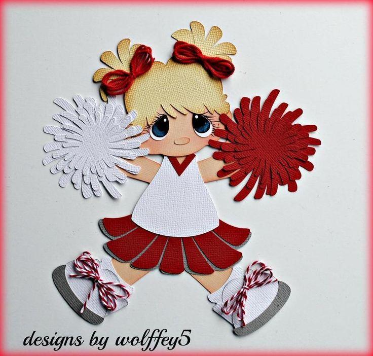 ELITE4U CHEER GIRL SPORTS paper piecing premade scrapbook page die cut WOLFFEY5…