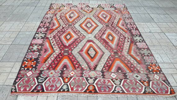 Handmade Turkish handwoven kilim. kilim rug.8.9 by turkishrugman