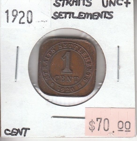 Item specifics     UPC:   Does Not Apply        Straits Settlements Cent 1920 UNC Uncirculated  Price : $34.99  Ends on : 2 weeks Order Now