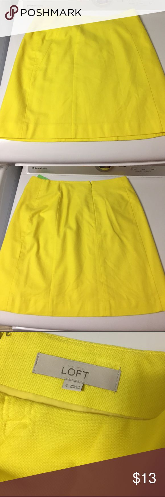 Bright yellow lined mini skirt Bright yellow lined mini skirt. Size 4. Ann Taylor. EUC. Cotton/rayon/spandex. Made in Indonesia. Size zip with two hook/eye. Ann Taylor Skirts Mini