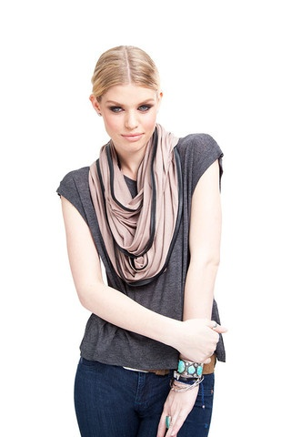 LEATHER TRIM JERSEY SCARF