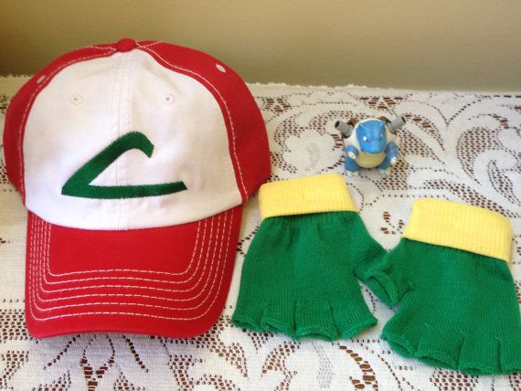 Child Set :  Pokemon Trainer Costume Set -- ASH KETCHUM  Cosplay  - Hat & Gloves