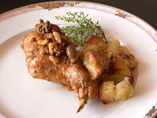 Ligurian Rabbit Recipe – Sanremo Style. The rabbit is cooked with thyme, olives and vermentino.