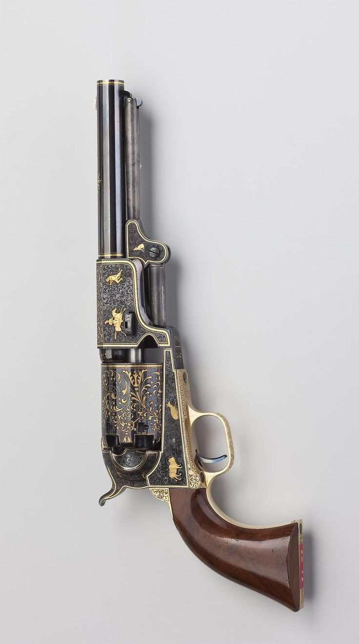 Saddle Six-Shooter Colt (army sample, the so-called 3rd dragoon model). Presentation specimen. Place of creation: USA Date: Circa 1853 School: Hartford Material: steel, wood and white alloy Technique: carved, engraved, inlaid with gold and blued.