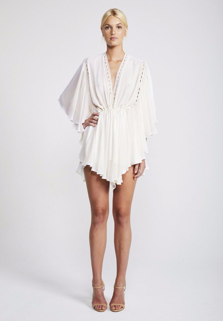 Shona Joy - Frill Sleeve Drawstring Mini Dress In Eclipse