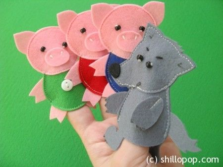 3 little pigs finger puppet