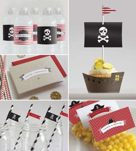 Printable Pirate Party Decorations Straw Flags by InklingsPaperie, $25.00