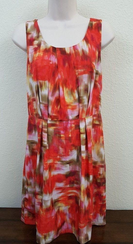 Ann Taylor Loft Sleevless Watercolor Print Lined Dress Size 4 #AnnTaylorLoft…