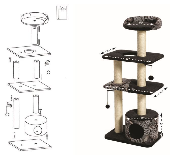 Amazon.com : Feline Nuvo Tower Cat Tree Furniture, 22 by 15 by 50.5-Inch : Cat Trees : Pet Supplies