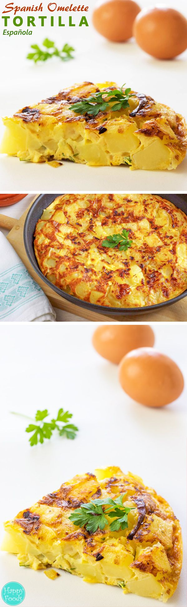 Spanish Omelette (Tortilla Española) - This traditional Spanish dish is made from eggs and potatoes. Easy recipe from Spain. | happyfoodstube.com
