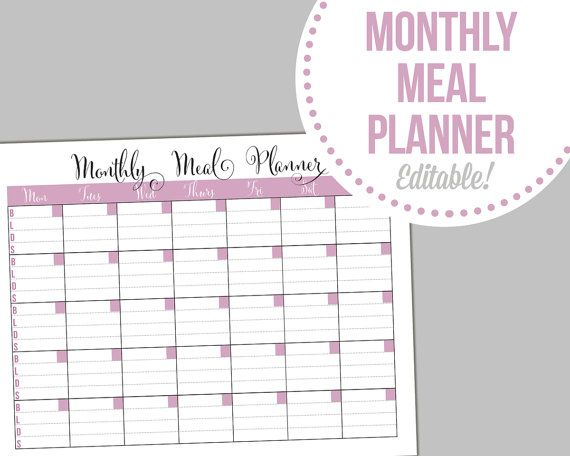 monthly meal planner - editable  fillable pdf