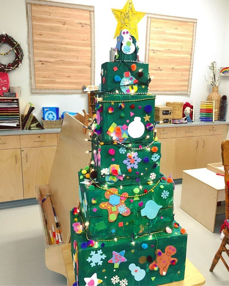 A collaborative Christmas tree created by the chil…