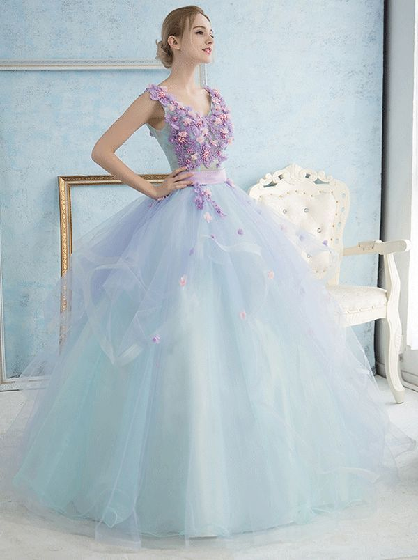 b8550f049c0 Fairy V-Neck Ball Gown Lace Flowers Floor-Length Quinceanera Dress Quinceanera  Dress