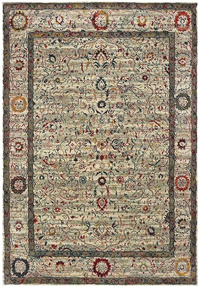 Sphinx Mantra Area Rug 1905w Ivory Petals Bordered 7 10 Quot X 10 10 Quot Rectangle In 2020 Oriental Weavers Area Rugs Traditional Rugs