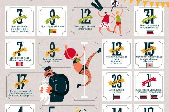 АиФ.ru составил календарь самых необычных праздников, которые отмечают вразных странах мира.
