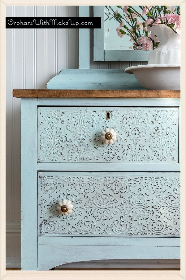 Embossing Plaster Dresser Country Chic Paint In Icicle