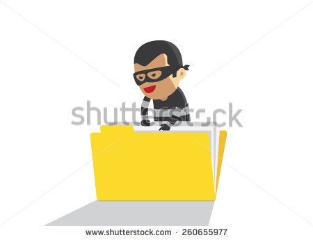 computer hacker hacking robbery secret data in yellow folder cyber way