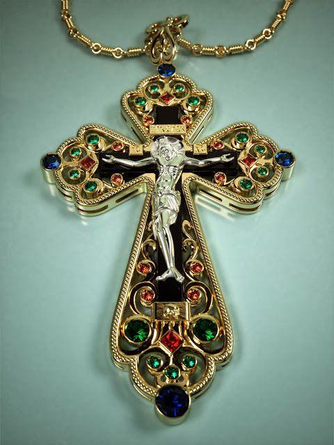 Orthodox crucifix pendant.Rendering in FryRender, modeling in Rhino3D