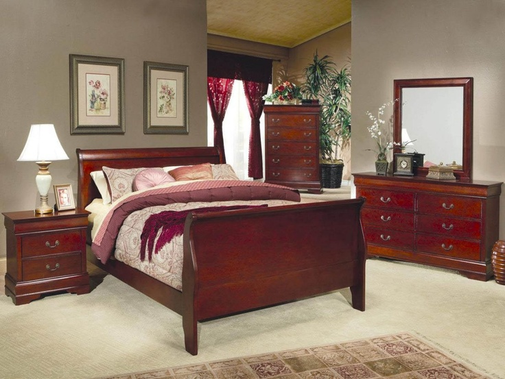 Coaster Louis Philippe King Size Sleigh Panel Bed In Cherry Bedroom Set Made From Selective Hardwood And Veneers A Finish