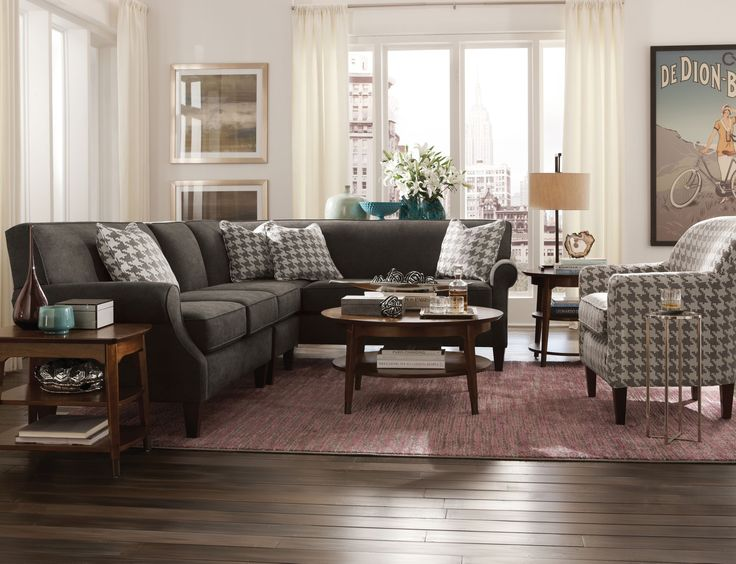 Style Collection: The Chloe II sectional was designed to be small scaled with shapely lines. A tight back keeps things neat. Charcoal grey with a hounds-tooth pattern for toss pillows and accent seating. CLICK TO SEE THE ART VAN BLACK FRIDAY SALE PRICE!