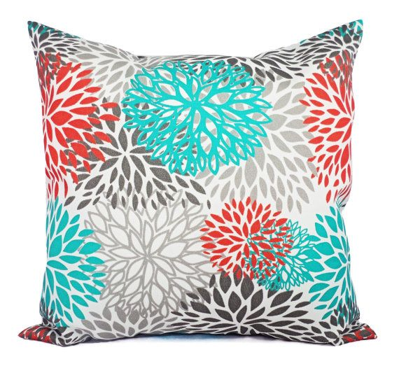 Indoor Outdoor Pillows - Two Turquoise and Orange Throw Pillow Covers - 16 x 16 inch Couch Pillow Cover Turquoise Orange Grey Pillow on Etsy, $28.00