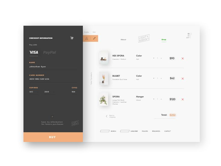 Day 20. Shop checkout page concept