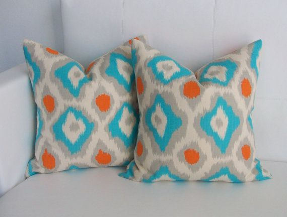 Decorative Pillows Orange And Blue : Ikat Blue and Orange Pillow Cover 18x18 Set of 2 by skoopehome, $38.00 Room Ideas Pinterest ...